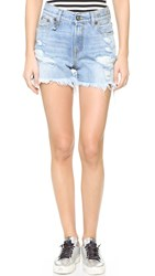 R 13 Shredded Slouch Shorts Bankside Blue