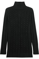 Opening Ceremony Ribbed Knit Wool Blend Turtleneck Sweater Black