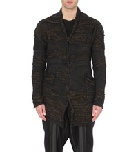 Isabel Benenato Hemp And Mohair Blend Knitted Cardigan Black Mix