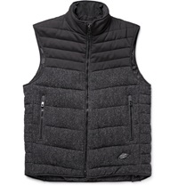 Rag And Bone Stride Brushed Wool Twill And Cotton Blend Canvas Gilet Black