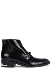 Toga Pulla Black Bow Embellished Leather Ankle Boots