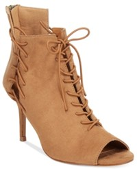 Chelsea And Zoe Kira Lace Up Peep Toe Booties Women's Shoes Camel