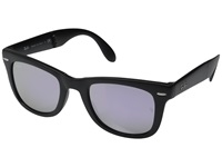 Ray Ban Folding Wayfarer 50Mm Matte Black Grey Mirror Lilac Fashion Sunglasses