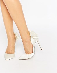 Asos Phoenix Pointed Bow Detail High Heels Ivory White