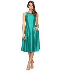 Tahari By Arthur S. Levine Tea Length Shantung Fit And Flare With Pockets Emerald Women's Dress Green