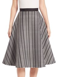 Lela Rose Raised Double Mesh Full Skirt Black Ivory