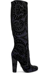 Paul Andrew Elder Appliqued Suede Knee Boots Black