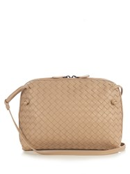 Bottega Veneta Nodini Intrecciato Leather Cross Body Bag Light Beige