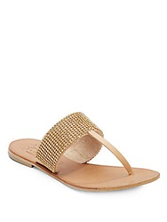Joie Rhinestone Embellished Leather Thong Sandals Gold