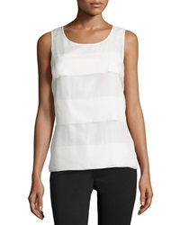 Halston Heritage Wide Stripe Tank Top Off White