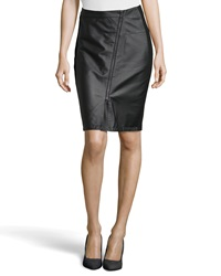 Neiman Marcus Asymmetric Zip Leather Ponte Skirt Black