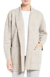 Eileen Fisher Women's Boiled Wool Funnel Neck Coat Maple Oat
