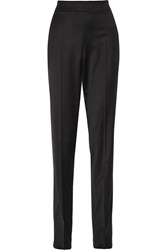 Oscar De La Renta Stretch Wool Blend Straight Leg Pants Black