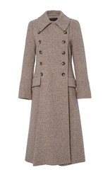 Herringbone Wool Trench Coat Brown