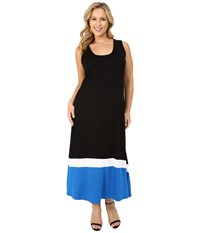 Karen Kane Plus Size Contrast Maxi Tank Dress Black Women's Dress