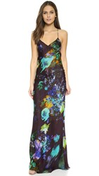 Mason By Michelle Mason Floral Print Bias Slip Dress Plum