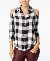 Polly And Esther Juniors' Plaid Cold Shoulder Button Front Shirt Black White
