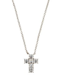 Fantasia Asscher Cut Cz Crystal Cross Pendant Necklace Women's