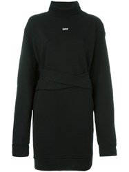Off White Long Roll Neck Sweatshirt Black