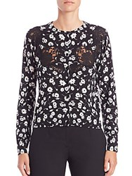 Dolce And Gabbana Lace Inset Floral Print Cashmere Silk Cardigan Multicolor