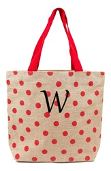 Cathys Concepts Personalized Polka Dot Jute Tote Red W