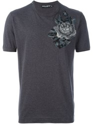 Dolce And Gabbana Embroidered Rose Patch T Shirt Grey