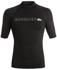 Quiksilver Men's Heater Graphic Print Logo Short Sleeve Rashguard Black