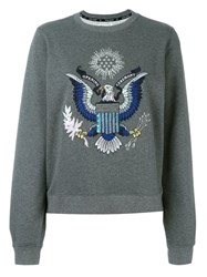 Opening Ceremony Embroidered Eagle Sweatshirt Grey