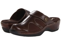 Softwalk Acton Dark Brown Veg Calf Leather Stretch Women's Clog Shoes