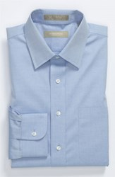 Men's Big And Tall Nordstrom Smartcare Wrinkle Free Traditional Fit Dress Shirt Blue