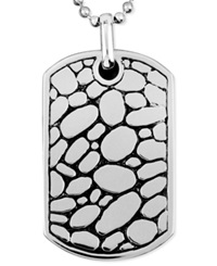 Macy's Men's Stainless Steel Necklace Textured Dog Tag Pendant