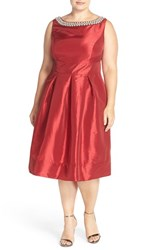 Sangria Plus Size Women's Embellished Taffeta Fit And Flare Dress