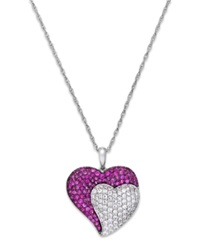 Macy's Ruby 1 1 4 Ct. T.W. And Diamond 1 2 Ct. T.W. Heart Pendant Necklace In 14K White Gold