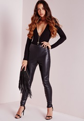 Missguided Faux Leather Ankle Zip Trousers Black Black