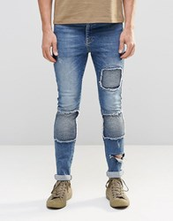 Asos Super Skinny Jeans With Biker Styling In Blue Light Blue