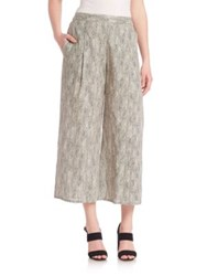 Eileen Fisher Printed Organic Cotton Cropped Pants Natural