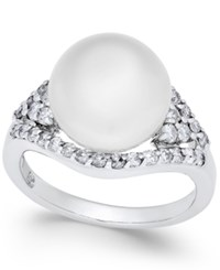 Macy's Cultured White South Sea Pearl 11Mm And Diamond 5 8 Ct. T.W. Ring In 14K White Gold