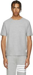 Thom Browne Grey Rope Stitched T Shirt
