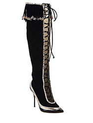 Sophia Webster Zina Suede Fringe Lace Up Knee High Boots Black