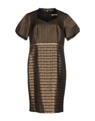 Xandres Knee Length Dresses Dark Brown