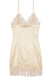 Agent Provocateur Abbey Lace Trimmed Silk Blend Satin Chemise Nude