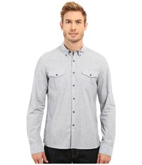 Kenneth Cole Long Sleeve Two Pocket Space Dye Indigo Combo Men's Long Sleeve Button Up Navy