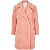 River Island Womens Pink Fleece Double Breasted Coat