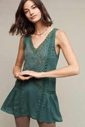 Anthropologie Francesca Beaded Tunic Green