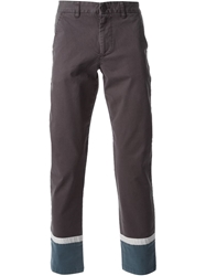 Bwgh Contrast Cuff Chinos Brown