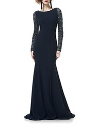 Theia Tulle Long Sleeve Crepe Mermaid Gown Midnight
