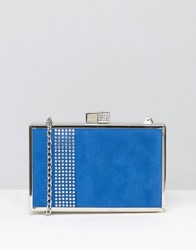 Lotus Box Clutch Bag Blue Microfibre