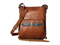 American West Moon Dancer Crossbody Wallet Golden Tan Blue Cross Body Handbags Brown