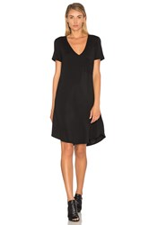 Heather V Neck Pocket Tee Dress Black