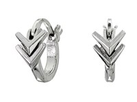 Sam Edelman Double V Huggie Hoop Earrings Rhodium Earring Gray